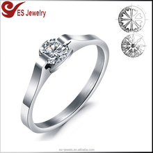crystal diamond engagement ring,1.5mm stainless steel white gold wedding band CZ diamond inlaid
