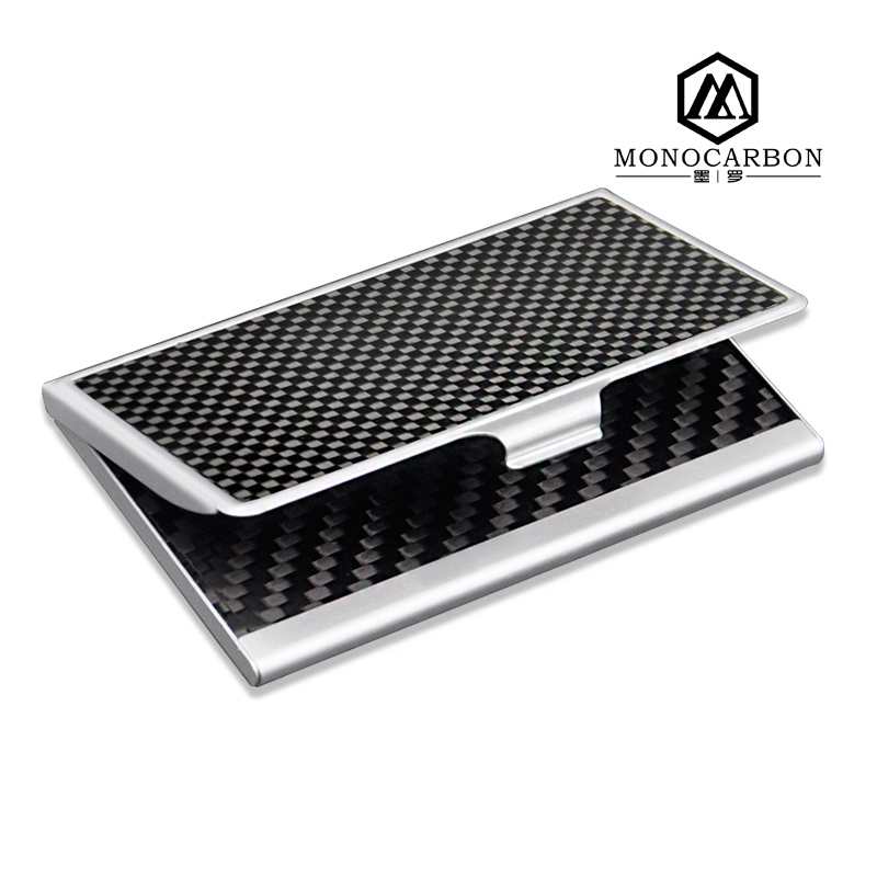 2017 New Square Foldable Carbon Fiber Visiting Card Box,Stainless Steel Card Holder for Card Box Packaging