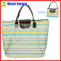 Foldable stripe travel leisure hand bag/shopping hand bag for promotion