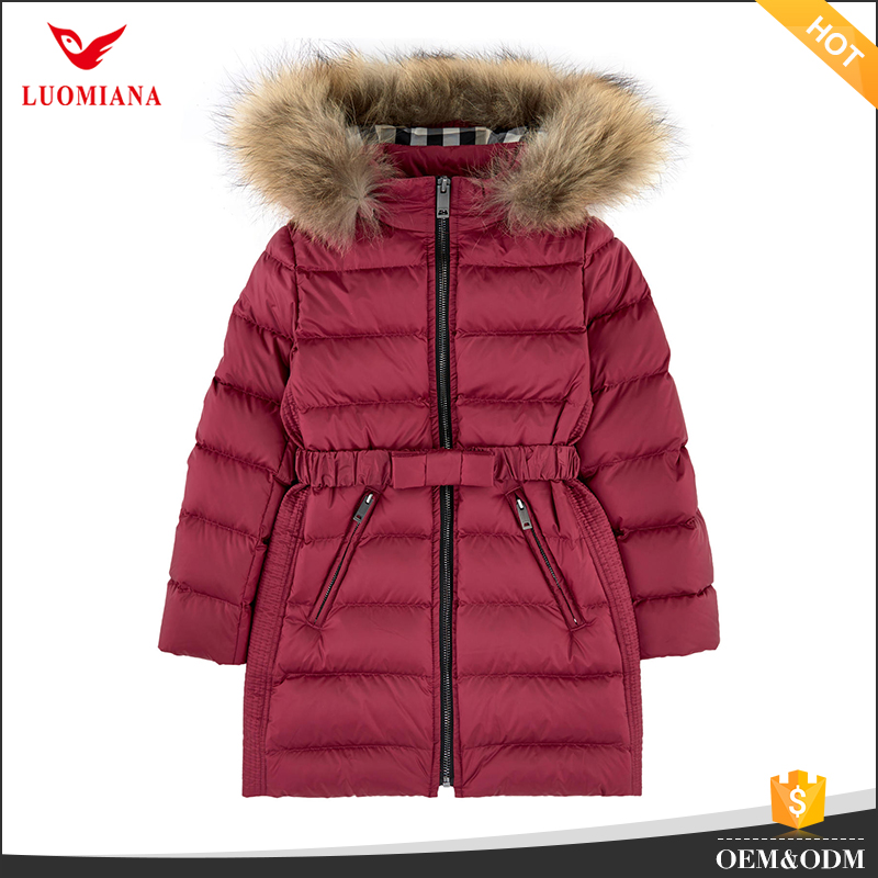 Red color fur trim hooded kids down coat