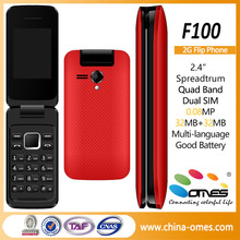 New F100 OEM slim 2.4inch flip cell phone unlocked