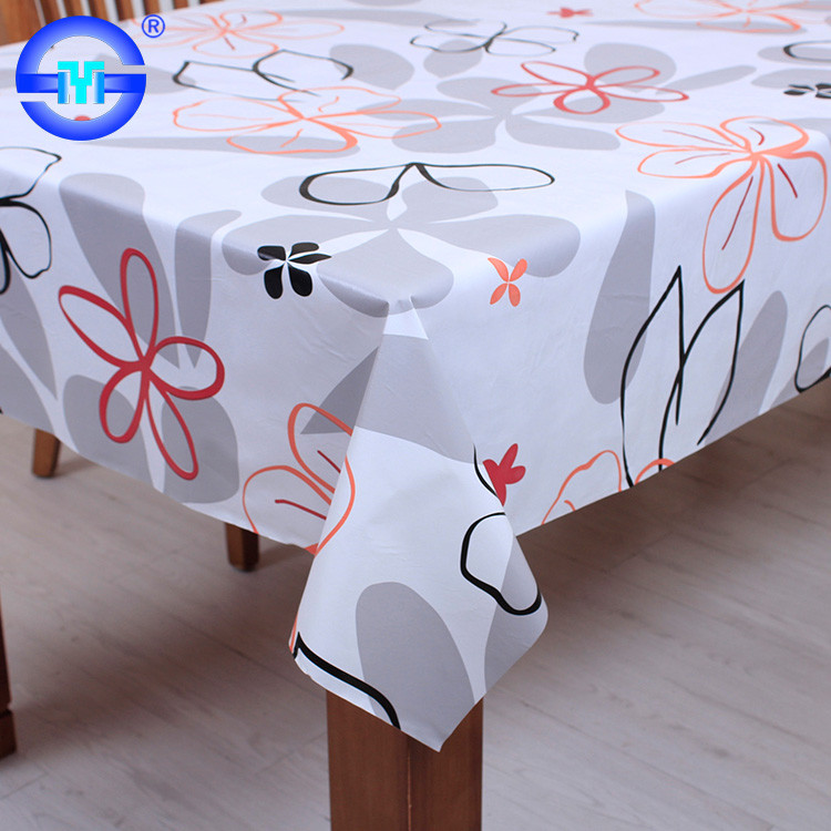 Fashion custom printed plastic tablecloth wholesale vinyl lace tablecloths round with flannel back