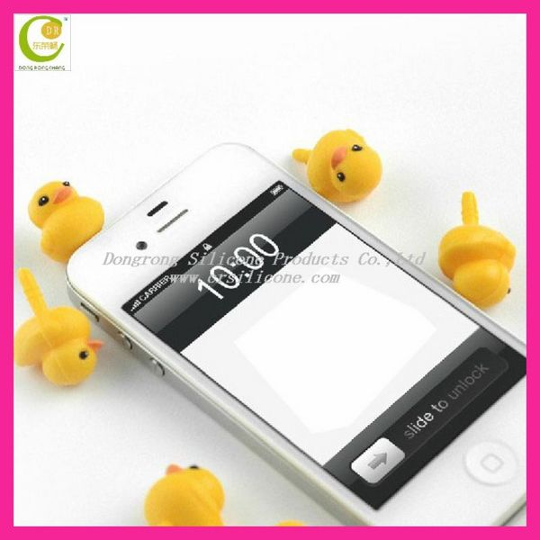 Yellow duck shaped dust plug ear cap for smartphone,fashion earphone dust plug ,promotional cartoon earphone plug