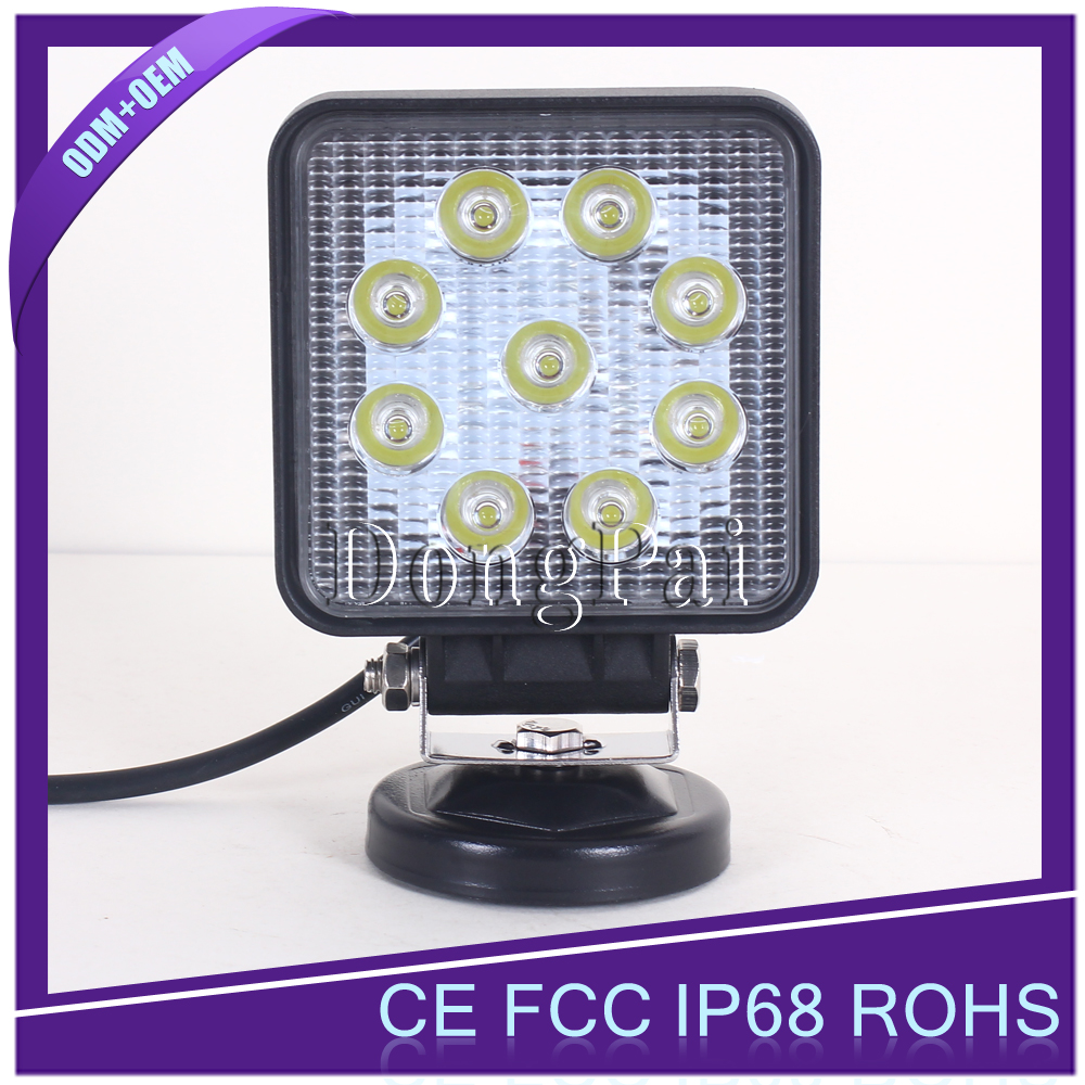 Top quality IP68 led 27w work light, led worklight 27w for fog driving, 27w led work lamp