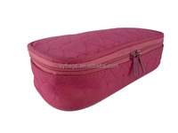 oxford pink cosmetic bag with mirror / travel wash bag / Heart-shaped quilting toiletry bag