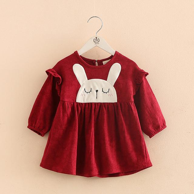 Latest design long sleeve bubble dress with rabbit pattern