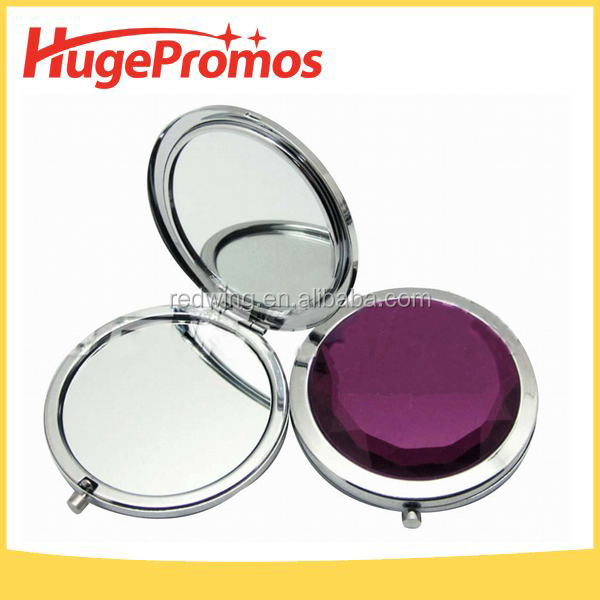 Printed Round Folding Glass Crystal Compact Makeup Mirror