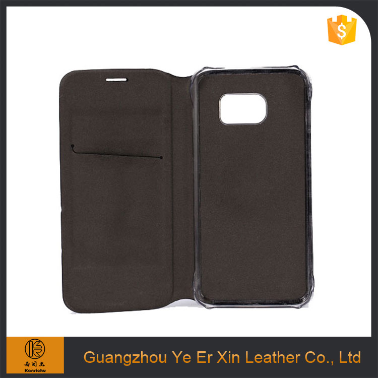 Wholesale custom OEM/ODM free sample wallet flip cover leather phone case for samsung galaxy s6 s7 edge