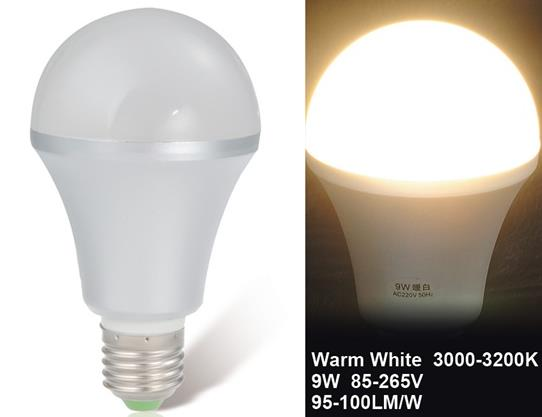 9W 85-265V E27 Warm White LED Ball Bulb Aluminum