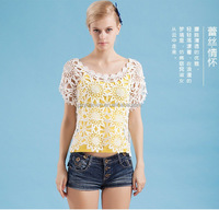 New stereo embroidered blouses, European fashion mix t-shirt