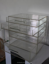 clear acrylic 4 tier plastic storage drawer multi-drawer