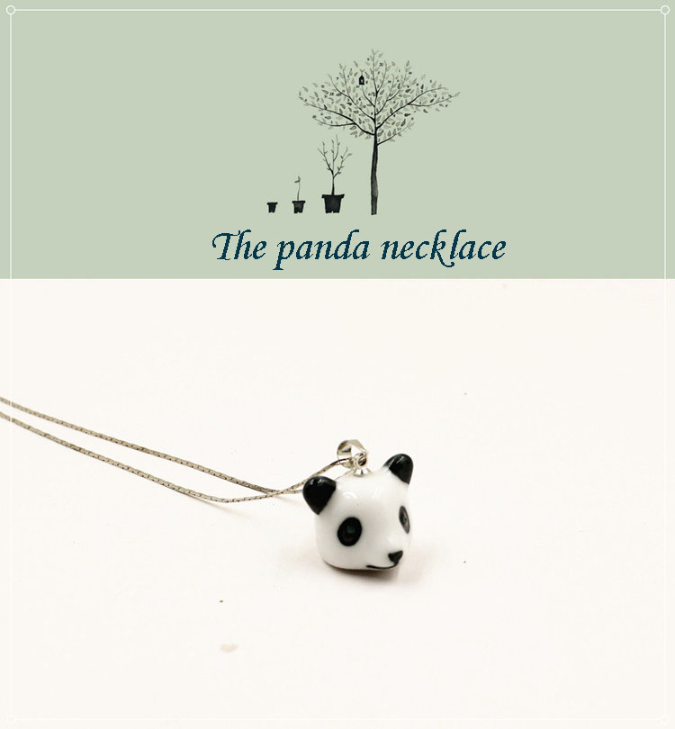 porcelain wholesale stainless animal panda pendant necklace fashional and cute necklace for gifts
