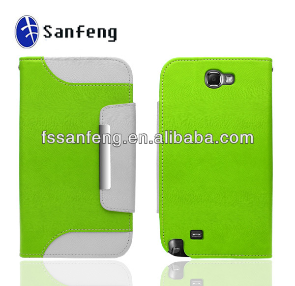 Hot Selling Leather Flip Case For Samsung galaxy Note 2 case -white and green