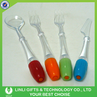2016 Cheap Plastic Personal Led Fork And Spoon, Logo Printed Kids Tableware