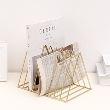 Bookshelf iron Geometry Newspapers and Magazines Storage Rack Home Decor <strong>Shelf</strong>