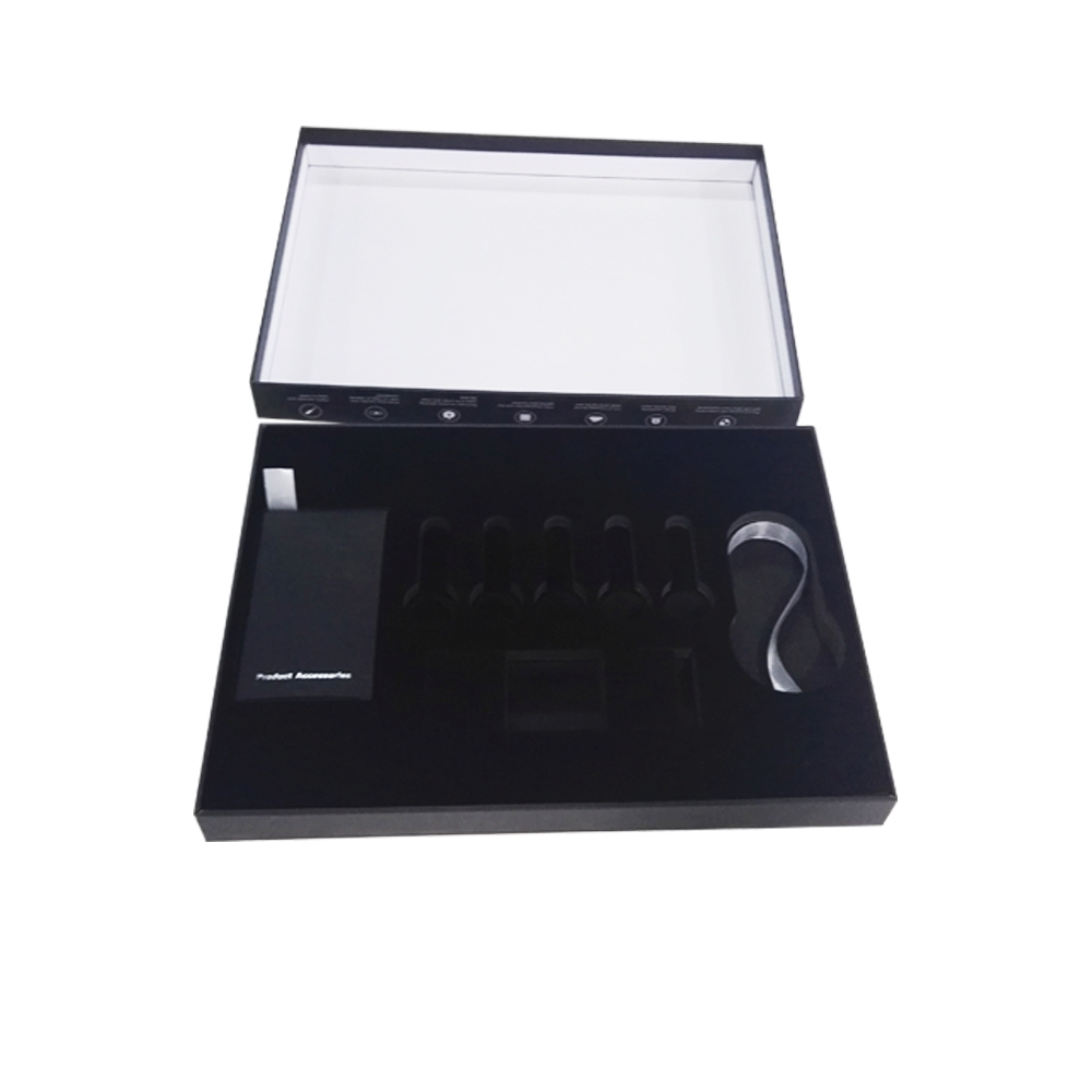 box packaging black for electronic packaging with EVA inner tray