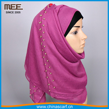 high quality pink spring summer jewelry cotton hijab pearl muslim scarf
