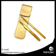2 Pcs Gold Color Coated Stainless Steel Straight and Curved Head Eyelash Extension Tweezers