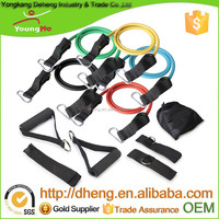 2015 High Quality 11pcs Resistance Band set With Foam Handles For Yoga Pilates Abs Exercise Tube Workout Fitness Kits