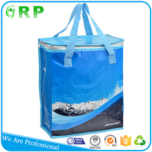 Outdoor travel pp woven material food delivery cooler bag for frozen food
