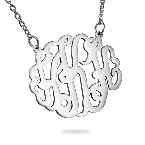 "Stainless Steel Monogram Necklace Silver Tone Alphabet /Letter Message "" <strong>K</strong> "" 46cm -"