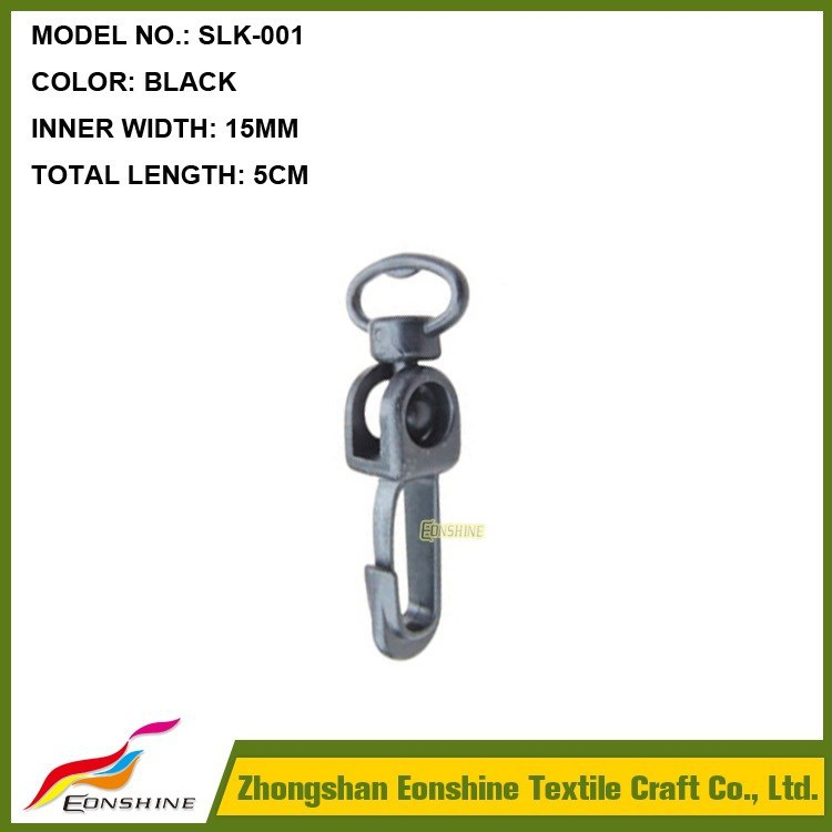 15MM Width Wholesaler Plastic Black Swivel Hook for Lanyard Webbing