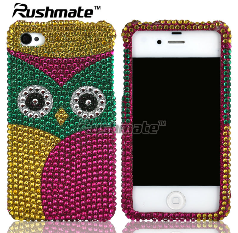 For Apple iphone 4G 4S High Quality Owl Design Diamond Case