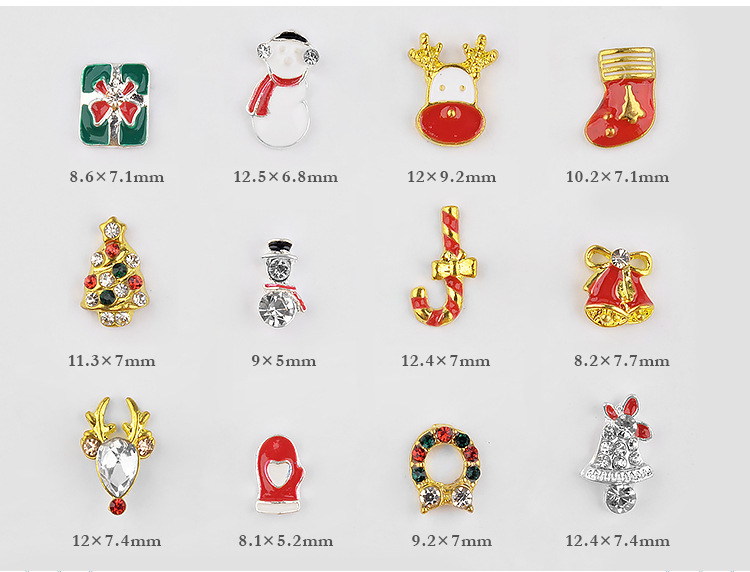 Christmas Type Alloy Armament Snow Christmas Gift Nail Art Decoration