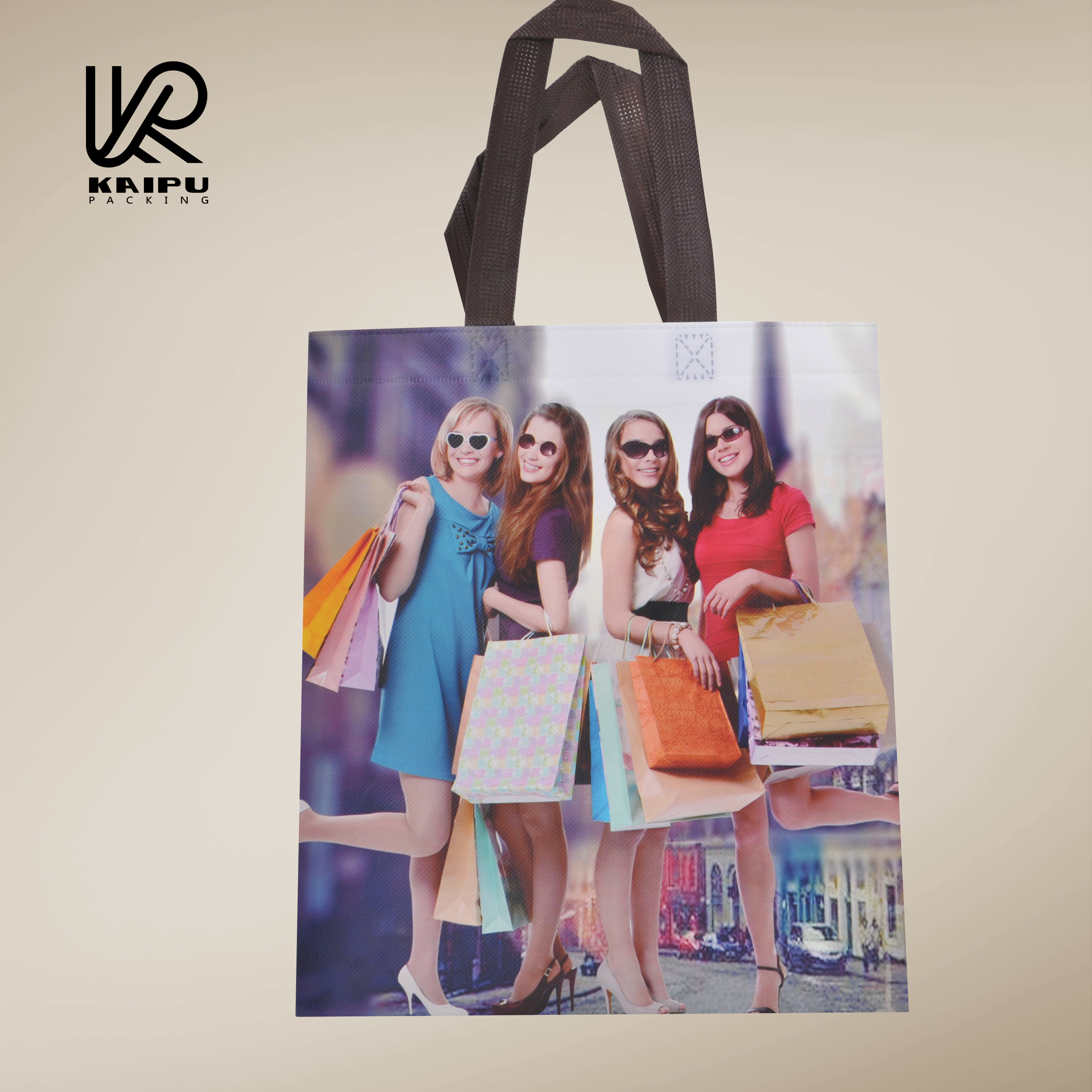 New product 2016 non-woven lady tote shopping bags full color printed manufactured in China