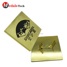 Wholesale custom cheap plated gold blank metal nameplates with laser logo