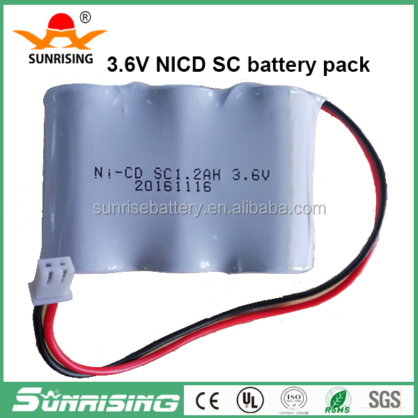 Nicd sc 1300mah 3.6v rechargeable battery and battery pack