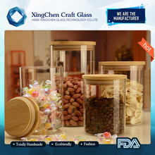 manufacture transparent drinking glass food grade glass container with lid jars storage jar air tight