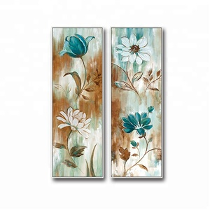 Handmade Modern Triptychs Artificial Flower Canvas Painting for Home Decor