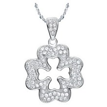 Chic white gold plated zirconia mircro paved lucky clover necklace