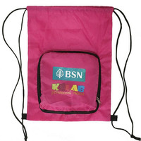 OEM new design cute logo printing kids training class drawstring bag with front zipper pocket