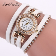 FanTeeDa Brand Women Watches Bracelet High Quality Dress Fashion Leather Strap Watch Ladies Rhinestone Quartz Wrist Watch
