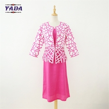 Wholesale long 3 pcs woven embroidery cutwork church office women's China ladies classic skirt women tailored suits