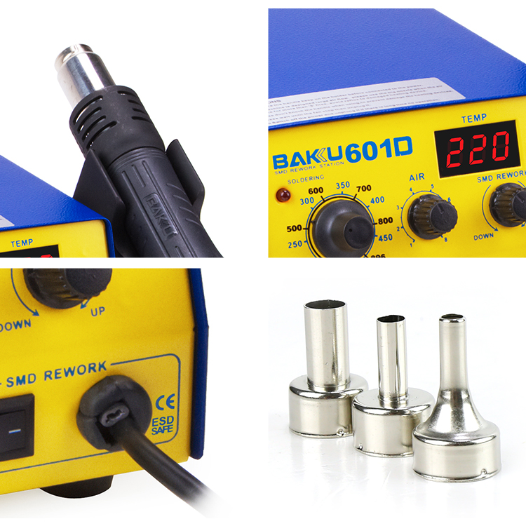 BK 601D The New BGA BAKU 2 in 1 Rework Station With Digital Display Hot Air Soldering Station