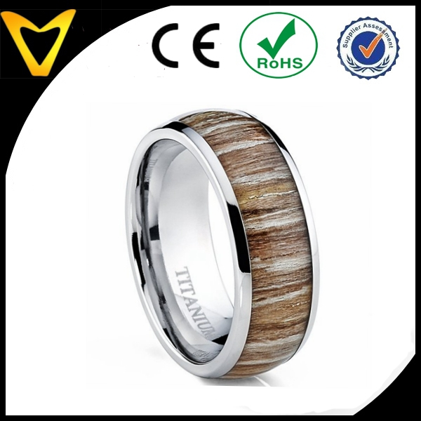 Real Wood Inlay Engagement Ring, new design titanium jewelry