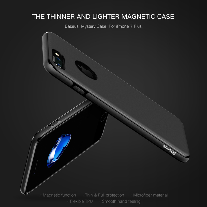 Original Baseus Mystery Series TPU+Ultra Fiber With Magnetic Function Back Case Cover For iPhone 7/7 Plus PB-176