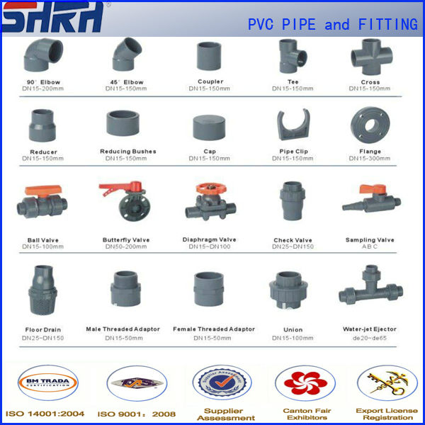 pvc pipe fittings pn16 for water