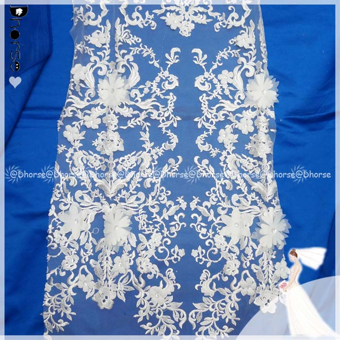 Swiss polyester voile 3D flower lace fabric for evening dress/embrodiery bridal beaded sequins lace fabric