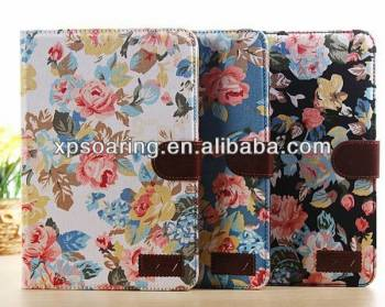 Fancy flower wallet leather case pouch for ipad mini 2