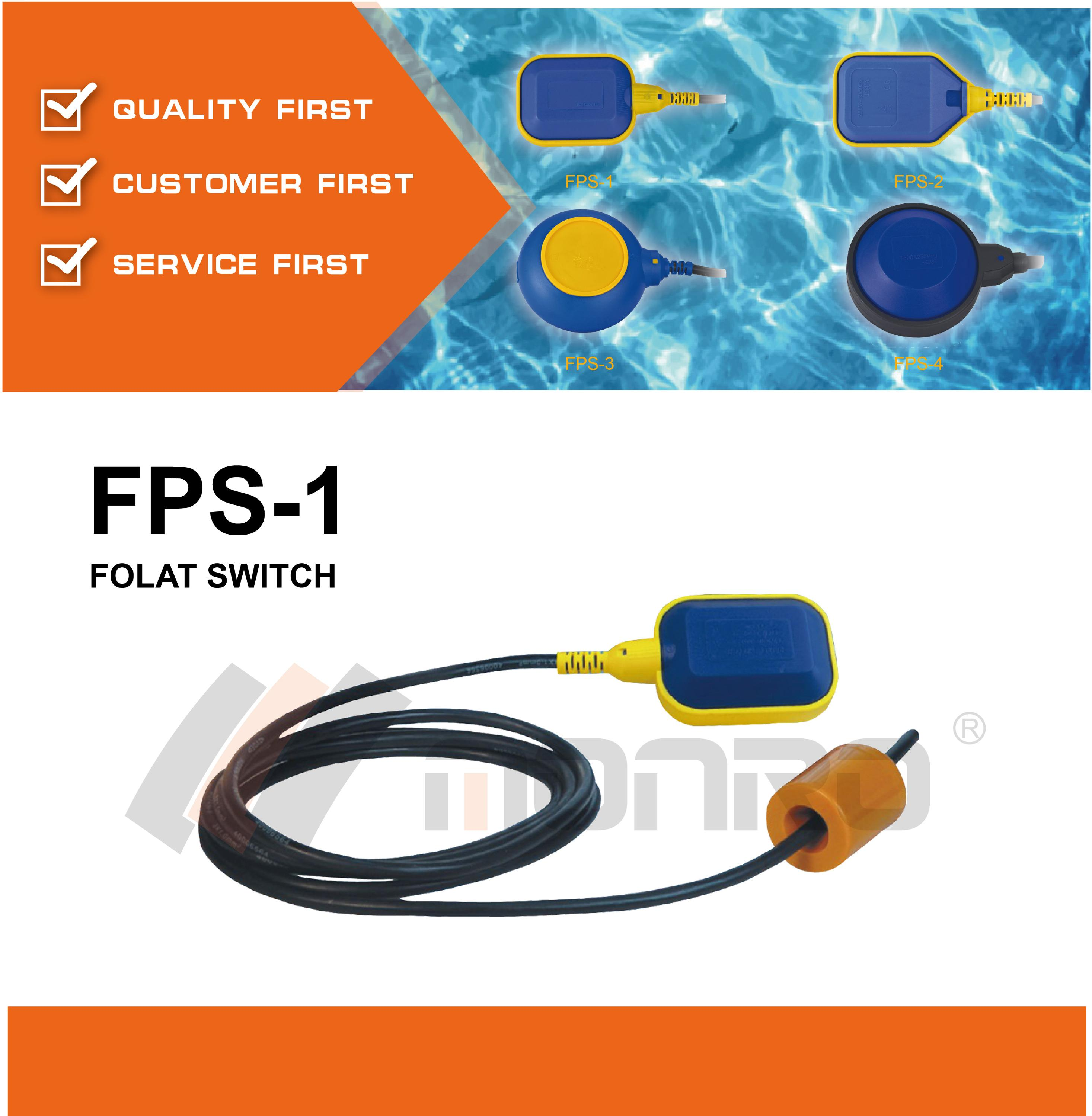 2015 zhejiang donghai square 220v pressure switch float switch for submersible pump FPS-1