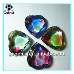 2016 hot sale colorful glass semi-precious cubic zirconia