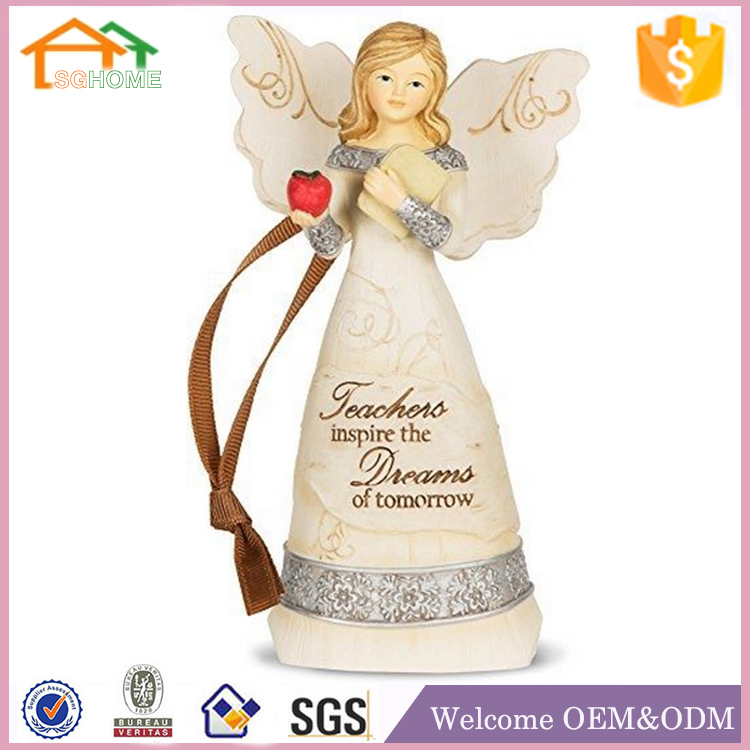 Factory Custom made home decoration polyresin wooden figurines angel