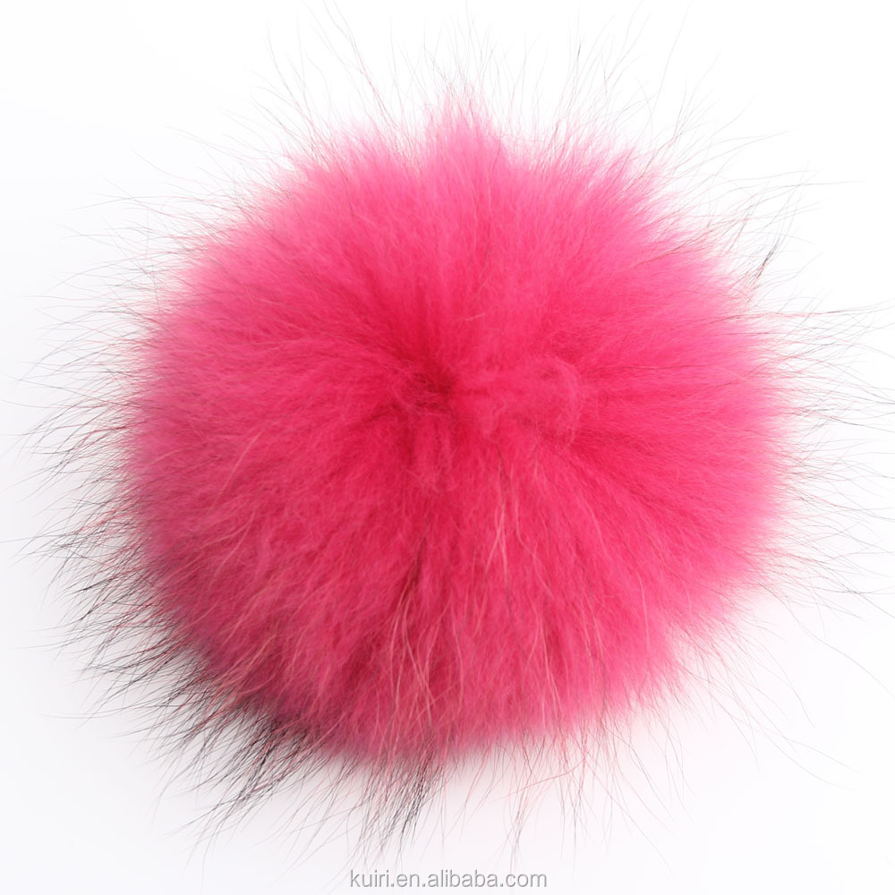 Dyed color raccoon/fox/rabbit fur ball pom poms with factory supply