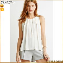 women chiffon sleeveless frill camiso tops blouses with button-back fastening