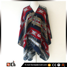 Fashion women colorful acrylic cashmere knitted poncho