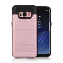 Wallet Card Holder Rubber Bumper Hard PC Back case for samsung galaxy s8